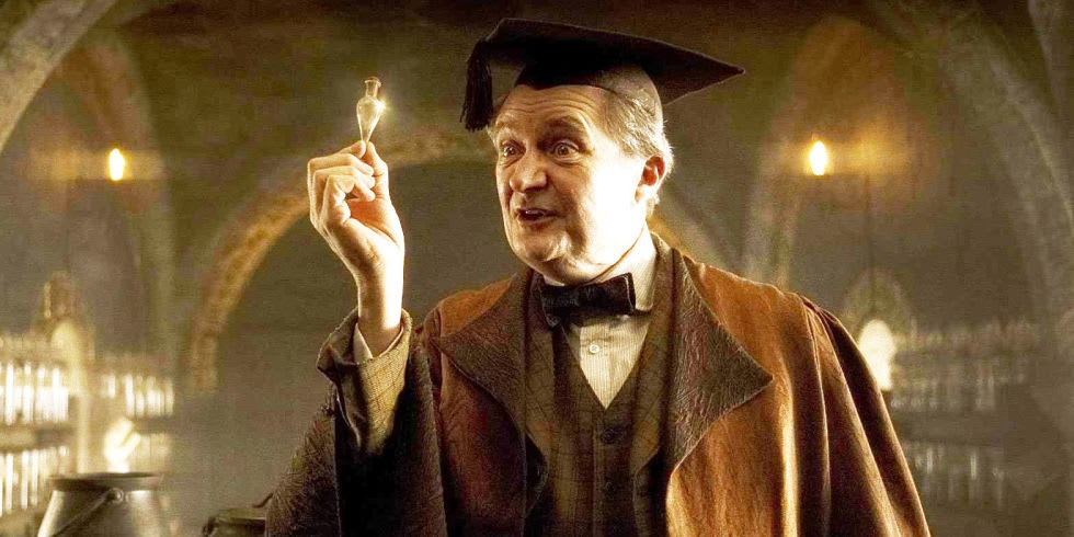 """Horace Slughorn presents potions to his students"""