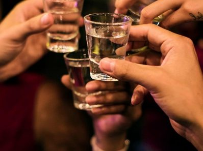 group of people doing shots
