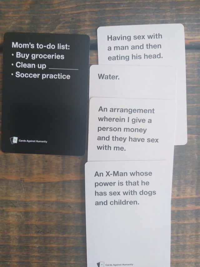 cah funny example - to much