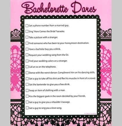 Dare Sheet Bachelorette - DIY Section