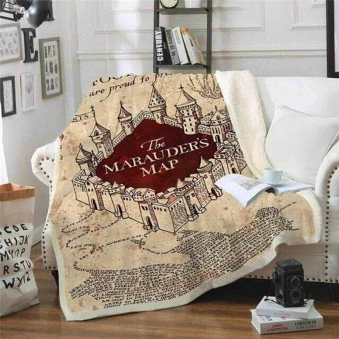 Hogwarts map blanket